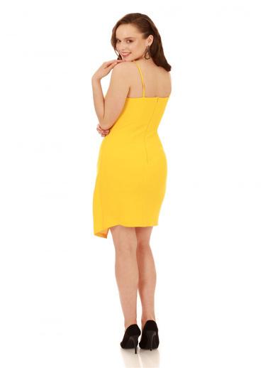 6ixty8ight Sarı Askılı Yandan Tokalı Kısa Abiye Elbise Sarı